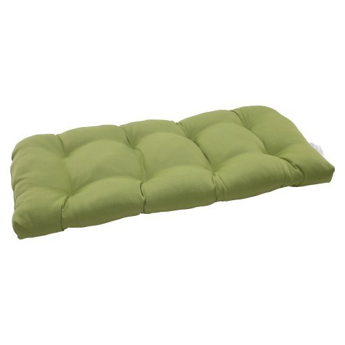 Pillow Perfect Indoor/Outdoor Forsyth Wicker Loveseat Cushion, Green by Pillow Perfect (Outdoor-wicker Loveseat)