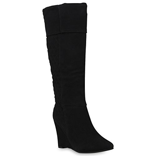Stiefelparadies Damen Schuhe Keilstiefel Leicht Gefütterte Stiefel Gesteppt Wedges Boots 153254 Schwarz Carlet 38 Flandell (Gesteppte Stiefel)
