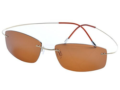 DEDING Titan Randlose polarisierte Sonnenbrillen (coffee Linsen)