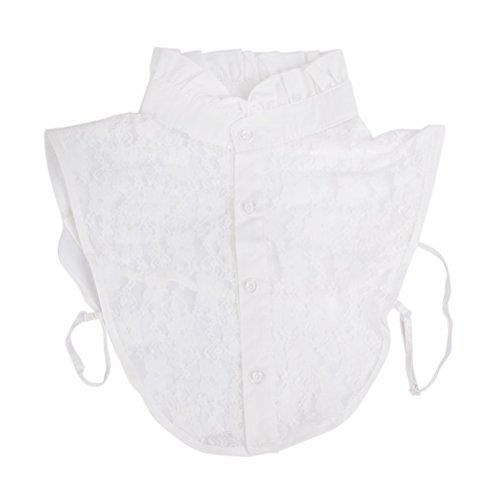 NUOLUX Halbes Hemd Bluse Kragen Frauen floraler Spitze abnehmbar Kragen (weiß) (Kragen Bluse)