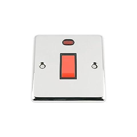 45Amp interrupteur Cuisinière Four W/néon–Chrome poli classique–Insert Noir