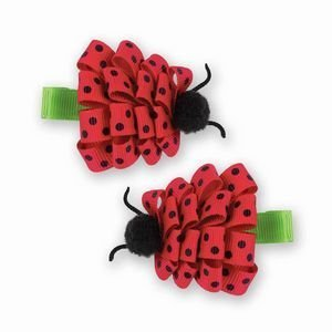 Lucky Red Ladybug Hair Bow Clips, 2 Count
