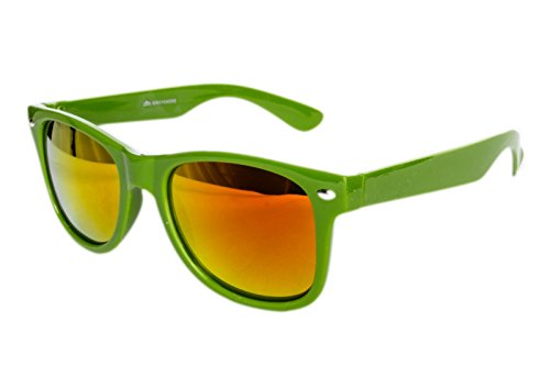Nerdbrille Sonnenbrille Nerd Atzen Nerdbrille Pilotenbrille Brille Dunkel grün Feuer Verspiegelt