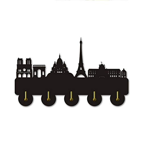 Silueta Paris Skyline Silueta Ganchos Pared Hermosa