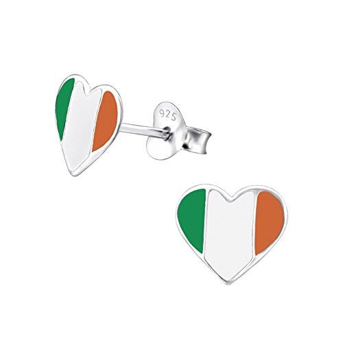 Irland Flagge Ohrringe–Echtem Sterling Silber–Herzform