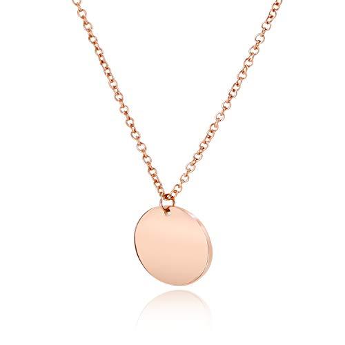 LENIRA® | Hochwertige Frauen Halskette - Plättchenkette rosegold - perfekt geeignet als Geschenk | inklusive GRATIS Haarband + Schmuckschachtel