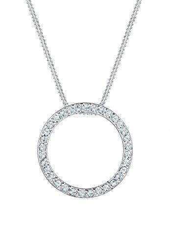 Elli Damen Schmuck Halskette Kette mit Anhänger Kreis Geo Glamourös Silber 925 Swarovski® Kristalle Silber Länge 45 cm