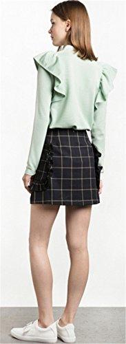 Hohem Ausschnitt Rüschensaum Reißverschluss Vorne Zip Up Langarm Bluse T-Shirt Tee Oberteil Top Hellgrün Hellgrün