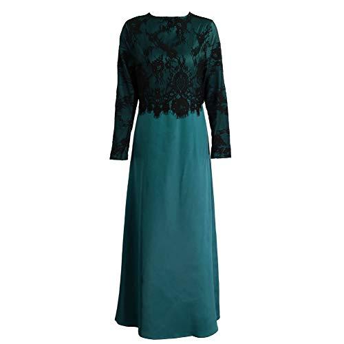 Neue Geboren Kostüm - Neue Frauen-moslemisches langes Kleid-Spitze-Häkelarbeit-Maxi Kleid-langes Hülsen-spleißendes Reißverschluss-Kleid-elegantes Schwingen-Kleid Khaki / Dunkelgrün / Purpur ,Hör auf zu kämpfen und du hörs