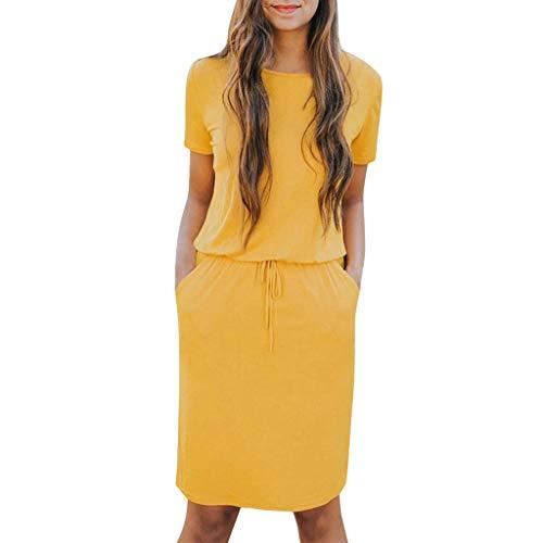 Lialbert T-Shirt-Kleid Freizeitkleid Rundhals Dame Kleider A-Linie Skaterkleid ÄRmeln Vintage Plissierter SchnüRung Tunika HäNgerkleid Kleider Minikleid Gelb