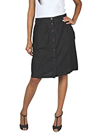 Old Khaki Solid Cotton Casual Women's Skirt with Buttons in Black Color with Contrast & Free Shipping