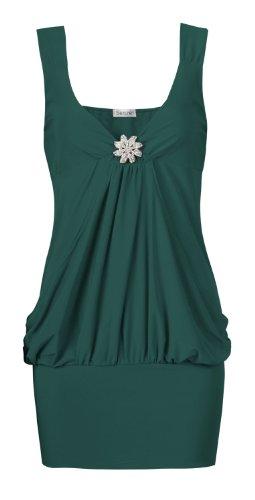 Fast armellose fashion pour femme coupe détaillée drapé artebenen partie top - Bleu sarcelle