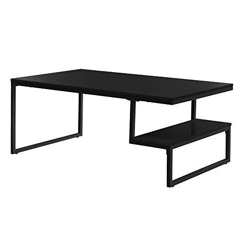 [en.CASA] Table de Salon modèren avec Laque Poli Fin [Noir] INCL. Rangement 110x60cm Table d'appoint
