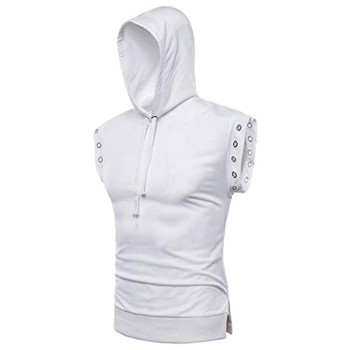 UJUNAOR Hoodies Herren Sommer Ärmellos Volltonfarbe Kordelzug Pullover Tank Tops Casual Sweatshirt(X-Large,Weiß)