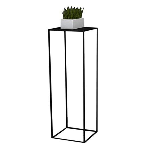Pflanzenregale ZCJB Plant Stand Rack Flower Pot Holder - Rostfreie Eisenkunst, Square Line Rahmen, Schwarz/Weiß (Farbe : Black 90cm High) Square Pot Holder