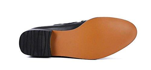 rivetti punta delle donne di cuoio rotonde con gli stivali tacco basso black