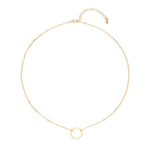 Front Row collar mujer color de oro diseño círculo abierto - longitud...