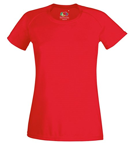 Fruit of the Loom T-Shirt Performance femmes à manches courtes Rouge - Rouge