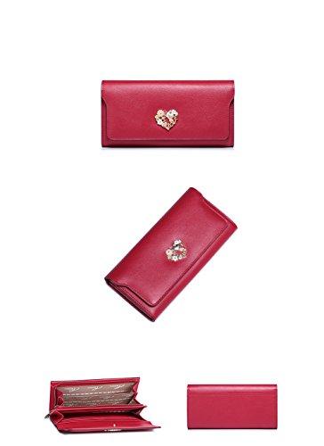 Yvonnelee Donne Della Signora Lungo Della Borse Borsa cuoio genuino Della Carta Portafoglio Leather Titolare Rosso