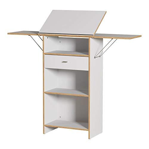 Lomadox Stehpult, Büropult in weiß und Navarra-Eiche-Nb. Breite: 65cm -