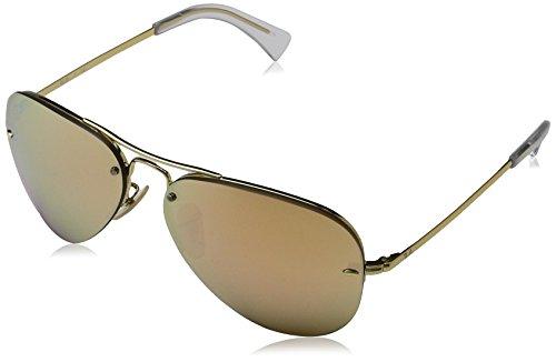 Ray-Ban Unisex Sonnenbrille Rb 3449, (Gestell: Gold, Gläser: Kupfer Verspiegelt 001/2Y), Large (Herstellergröße: 59)
