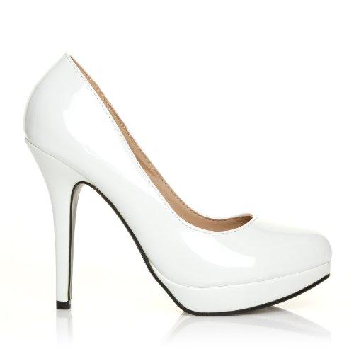 EVE scarpe da donna in pelle lucida PU modello tacco alto Stiletto e piattaforma bianco pelle lucida
