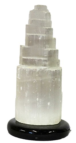 Selenit Edelstein Lampe mit Leuchtmittel Marmorsockel naturbelassen abgestuft (Lampe Mit Edelsteinen)