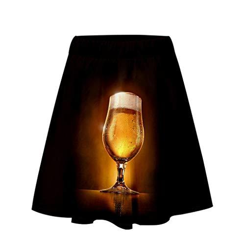 tzenschürze Damen Kleid, Ladies'3D Beer Festival Printing Einfacher, lässiger, kurzer Rock, Khaki, M ()