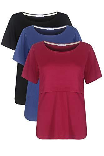 Smallshow Stillshirt Umstandstop T-shirt Umstandsmode Umstandsshirt Schwangerschaft Kleidung Mutterschafts Kurzarm Shirt 3er-pack,Schwarz/Tiefblau/Wein,XL