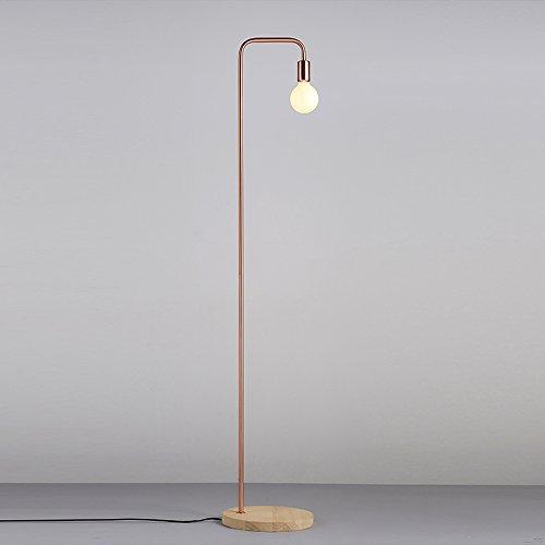 Retro Schwarz Stehlampe Und Rot Kupfer Metall Stehlampe, Holzfuß - Mit 6W LED Glühfaden Lampe, Schlafzimmer Nachttisch Wohnzimmer Couchtisch Dekorative Sofa Stehlampe ( Color : Red copper )