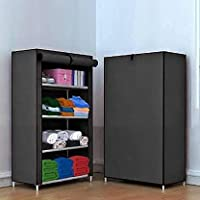 REXERA Multipurpose 4 Shelve Baby Wardrobe, Foldable, Collapsible Fabric Wardrobe Organizer for Clothes (Plastic and Non…