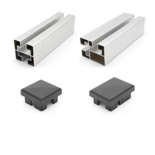 HORI® Pfosten für WPC-Zaun-Design I silber I für 180 cm Zaunhöhe I Konsole zum aufschrauben