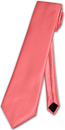 Herren Krawatte klassisch O.T. Klassik Anzug Satinkrawatte - 35 Farben (Koralle)