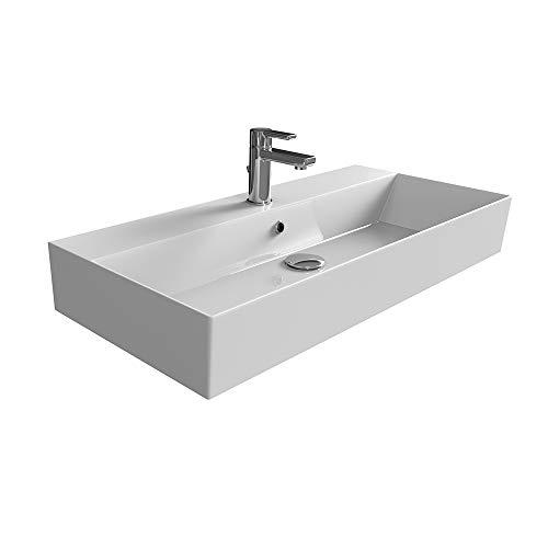 Aqua Bagno | Design Waschbecken | Aufsatzbecken | Aufsatz-Waschtisch | Dünner Rand | Wandmontage Möglich | hochwertige Keramik | Weiß | KS.90 | 90 x 42 cm