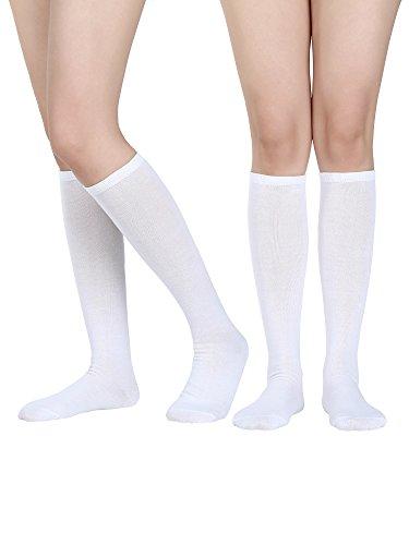 Satinior Damen Knie Hohe Socken Weiche Stiefel Socken Cosplay Socken für Party, Halloween, Schule, Eine Größe (Weiß, 2 Packung)