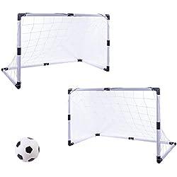 Winnian Lot de 2 Soccer Cage But de Foot Enfants Football Goal Jouet Détachable Portable Soccer Goal Enfants Cage de Football Entraînement de Football Porte