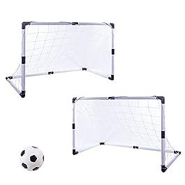 ZUJI 2pz Porte da Calcio Porta Calcetto con Mini Palloni da Calcio per Bambini