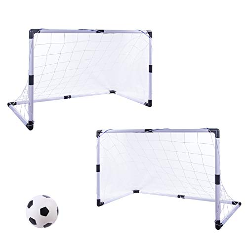 MAJOZ 2er Set Fußballtor mit mit inkl. Mini Fußball und Zubehör, Fußball-Tore für Kinder , BxTxH: 92 x 48 x 61cm