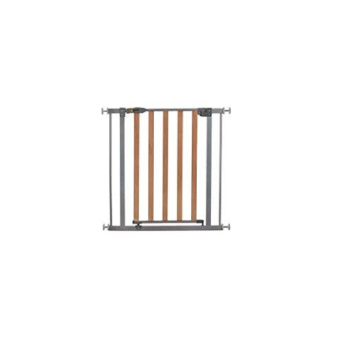 Hauck Wood Lock - Barrera de seguridad para escaleras, materiales de madera y aluminio, fijación sin tornillería, medidas 75-81 cm, color madera y gris