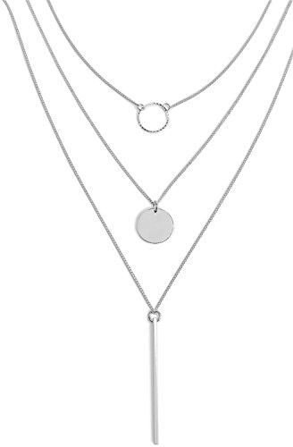 styleBREAKER Layer Halskette mit verschiedene Anhänger aus Edelstahl, Panzerkette, Kette, Schmuck, Damen 05030035, Farbe:Silber