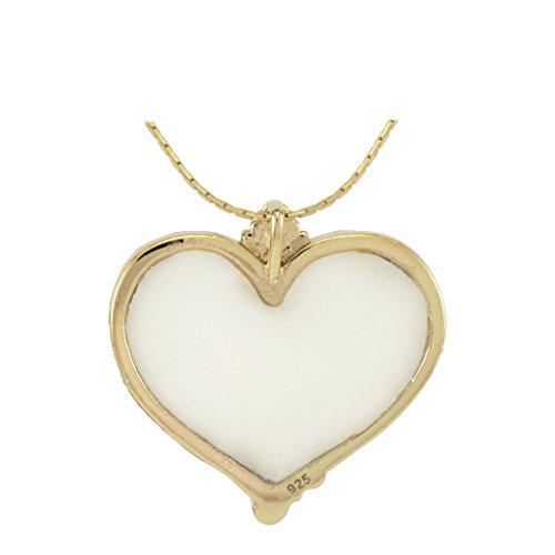 Collier Coeur d'Or - Bijoux Romantique - Pendentif de designer fait main - Cadeau de Noel pour femme Nacré