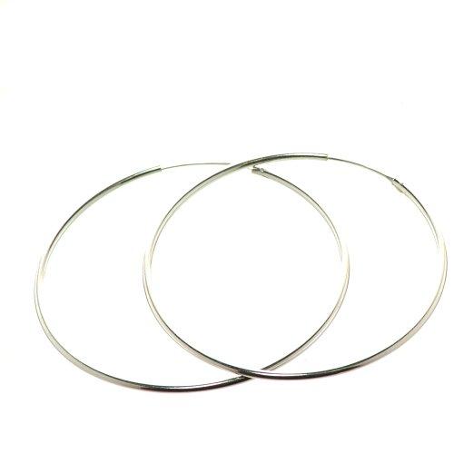 Bella Carina Damen Creolen 1,5 mm Stärke 1 - 9 cm Durchmesser, 925 Sterling Silber (4 Zentimeter) (Bella Vier)