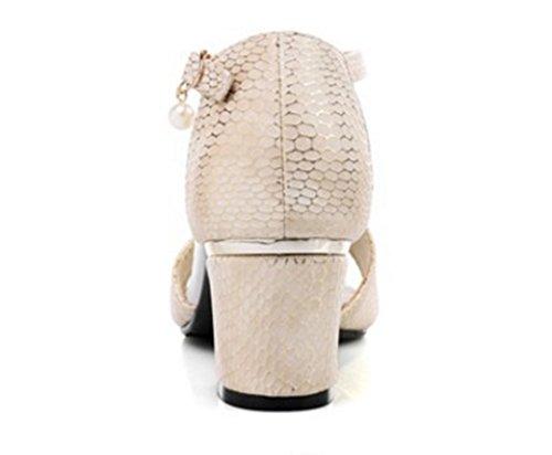 Aisun Damen Elegant Schlangenmuster Offene Zehe Blockabsatz Knöchelriemchen Sandale Aprikosenfarben