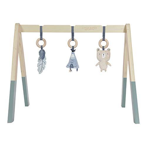 LITTLE DUTCH 4440 Holz Baby gym Spieltrapez inkl. Anhänger - blau (Gym Baby)