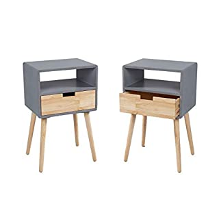 Wholesaler GmbH LC Home 2X Nachttisch Nachtschrank mit Schublade u. Ablage Holz grau natu in skandinavischem Stil