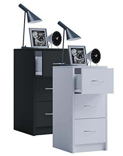 Preisvergleich Produktbild VCM Nachttisch Nachtschrank Schublade Nacht Kommode Konsole Boxal Maxi Weiß