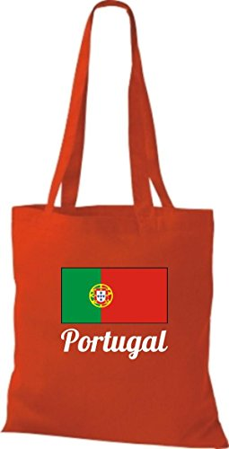 ShirtInStyle Stoffbeutel Baumwolltasche Länderjute Portugal Farbe Pink rot