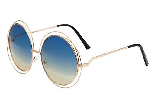 YAANCUN Weinlese Rahmen-Runde Sonnenbrille Toad Mirror Driver Driving-Spiegel-Sonnenbrille Persönlichkeit Metallrahmen