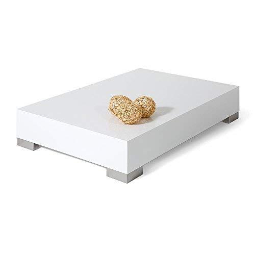 Mobili fiver icube 90 tavolino da salotto, legno, bianco lucido, 90x60x18 cm