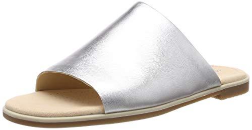 Clarks Damen Bay Petal Pantoletten, Silber (Silver Metallic), 40 EU - Clarks Pantoletten Für Damen